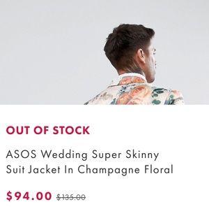 92969c9a269289 ASOS Suits & Blazers - ASOS Wedding Super Skinny Suit Jacket Floral